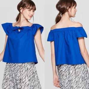 Who What Wear Blue Off Shoulder Top
